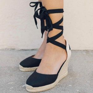 Soludos Tall Wedge Espadrilles Black